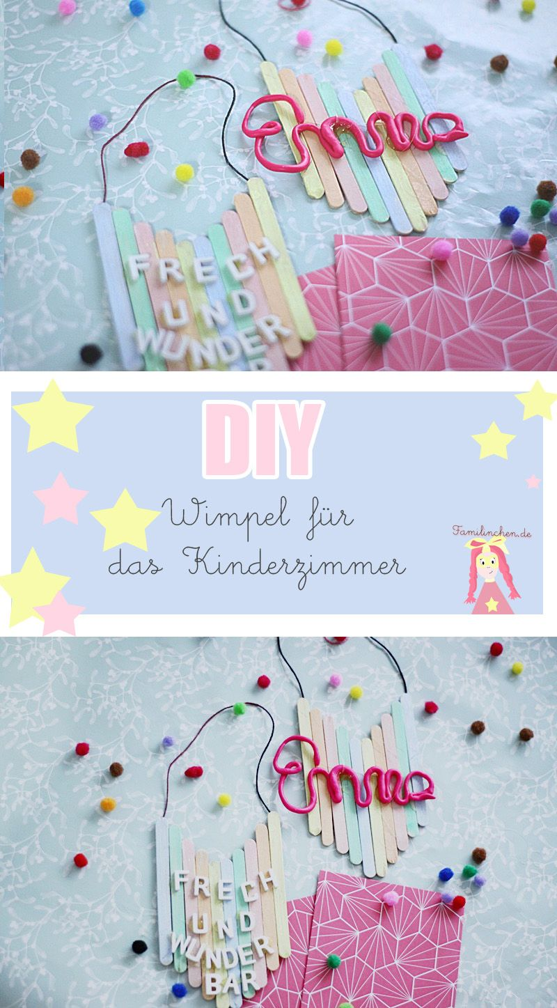 diy kinderzimmer deko wimpel aus eisstielen basteln pins von familinchen pinterest kinder. Black Bedroom Furniture Sets. Home Design Ideas