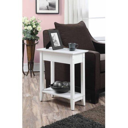 American Heritage Flip Top Tall Side Table Multiple Colors White End Tables Johar Furniture End Tables With Storage
