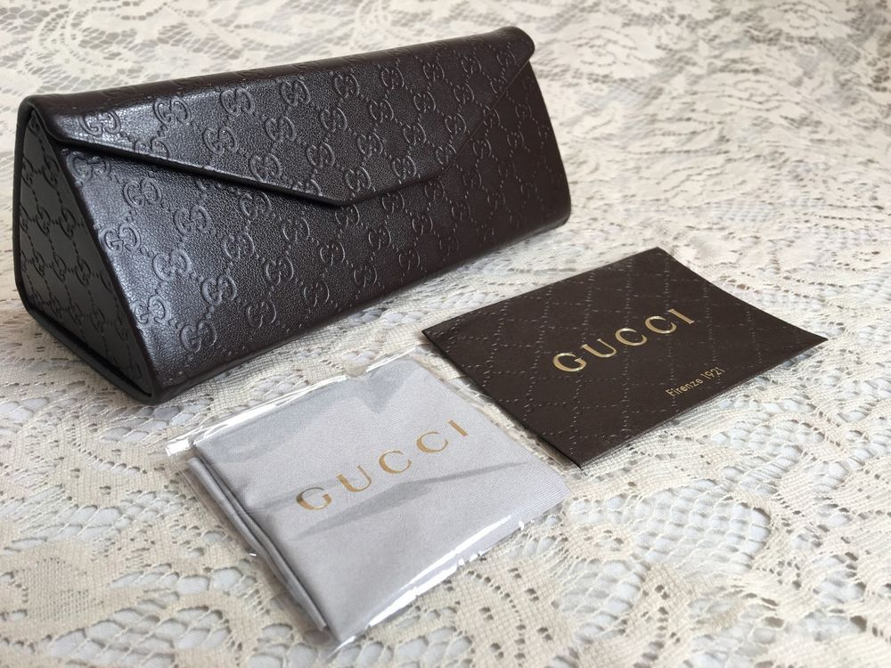 ee4bef0b49f2 GUCCI Brown Leather Folding Sunglasses Eyeglasses Designer Case Cleaning  Cloth