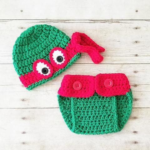 1a22ce094c1 Crochet Baby Ninja Turtle Hat Beanie Diaper Cover Set Newborn Infant  Handmade Photography Photo Prop Baby Shower Gift - Red Lollipop Boutique