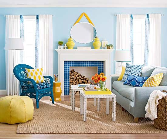 23 Brilliant Blue Color Schemes for Every Design Style | Living room colors, Blue and yellow living room, Colourful living room