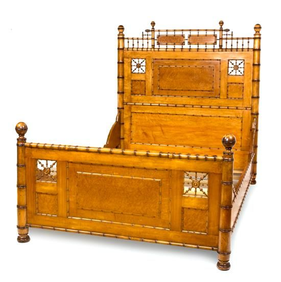 A Late Victorian Maple And Bamboo Bed Frame Property From The