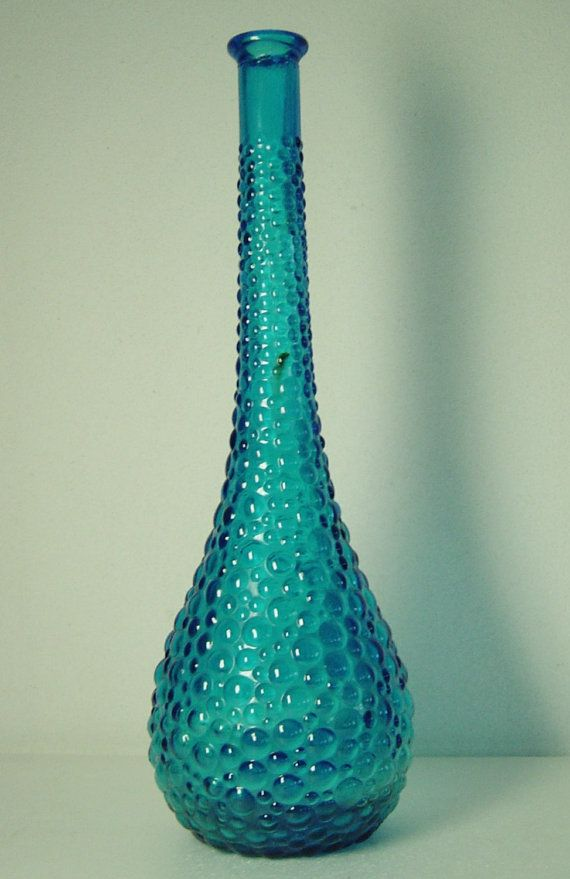 Tall Vintage 60s Bluegreen Bubble Art Glass Floor Vase 39 Cm
