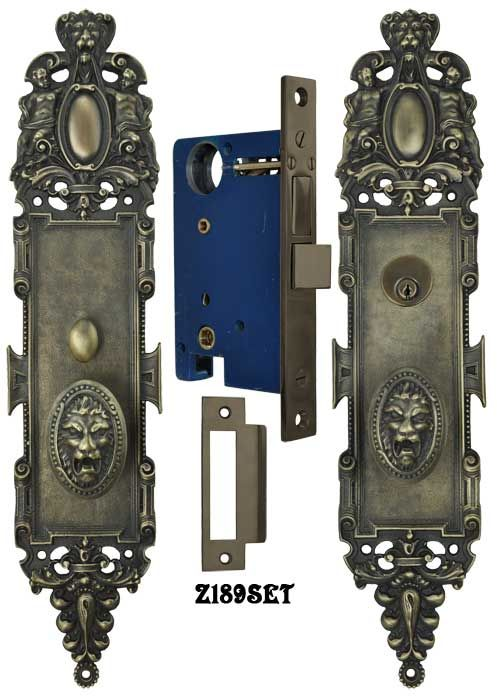 Z189set Roaring Lion Doorplate Entry Set Very Impressive This Is A Reproduction From Of The Pavia Pattern Ro Door Handle Design Door Sets Doors Interior