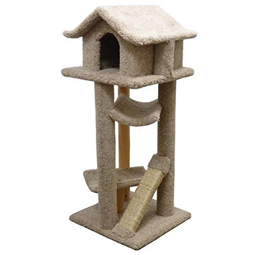 Modern Cat Furniture House Wood Kitty Tree 2 Beds Beige Carpet Read More At The Image Link Cat Tower Furniture Cat Furniture Cat Condo