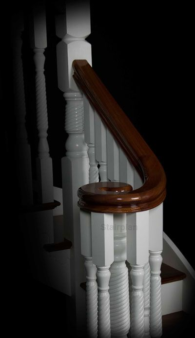 Washington Staircase With Ascending Volute Handrail In Hardwood