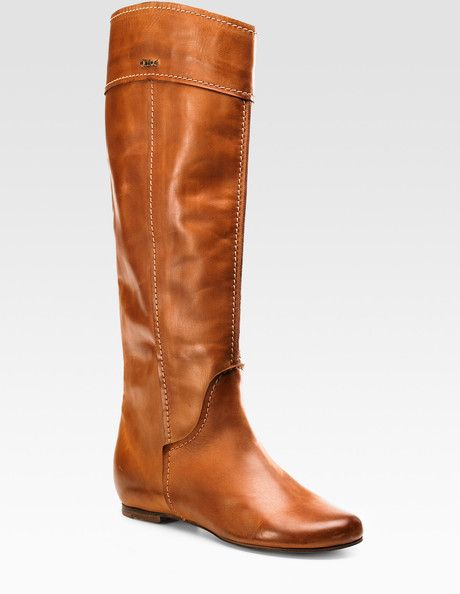 a9d9e0c5368 Tall Chestnut Boots for example  Chloé Tall Flat Boots in Brown (TAN) must  have.