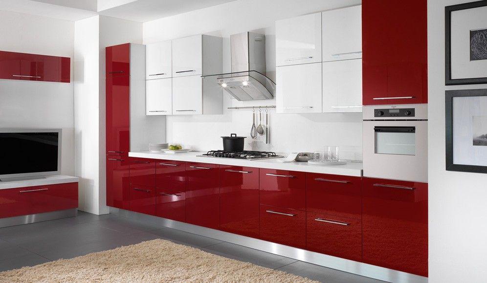 Red And White Modern Kitchen Diseno Muebles De Cocina Diseno De Interiores De Cocina Decoracion De Cocina Moderna