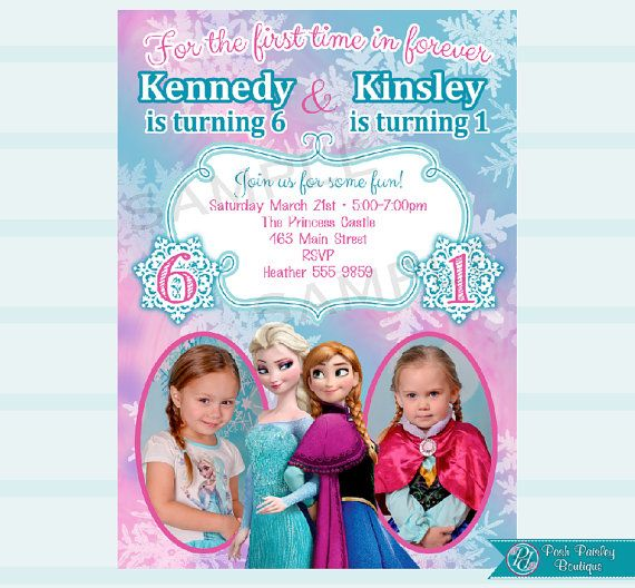 Twin Frozen Invitation Sister By PoshPaisleyBoutique