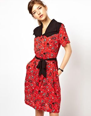 11d326df11e7 Fred Perry For The Amy Winehouse Foundation Bandana Print Shirt Dress -  back yoke is pointed western style