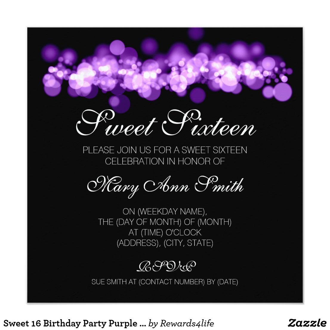 Sweet 16 Birthday Party Purple Bokeh Lights Card Elegant Sweet
