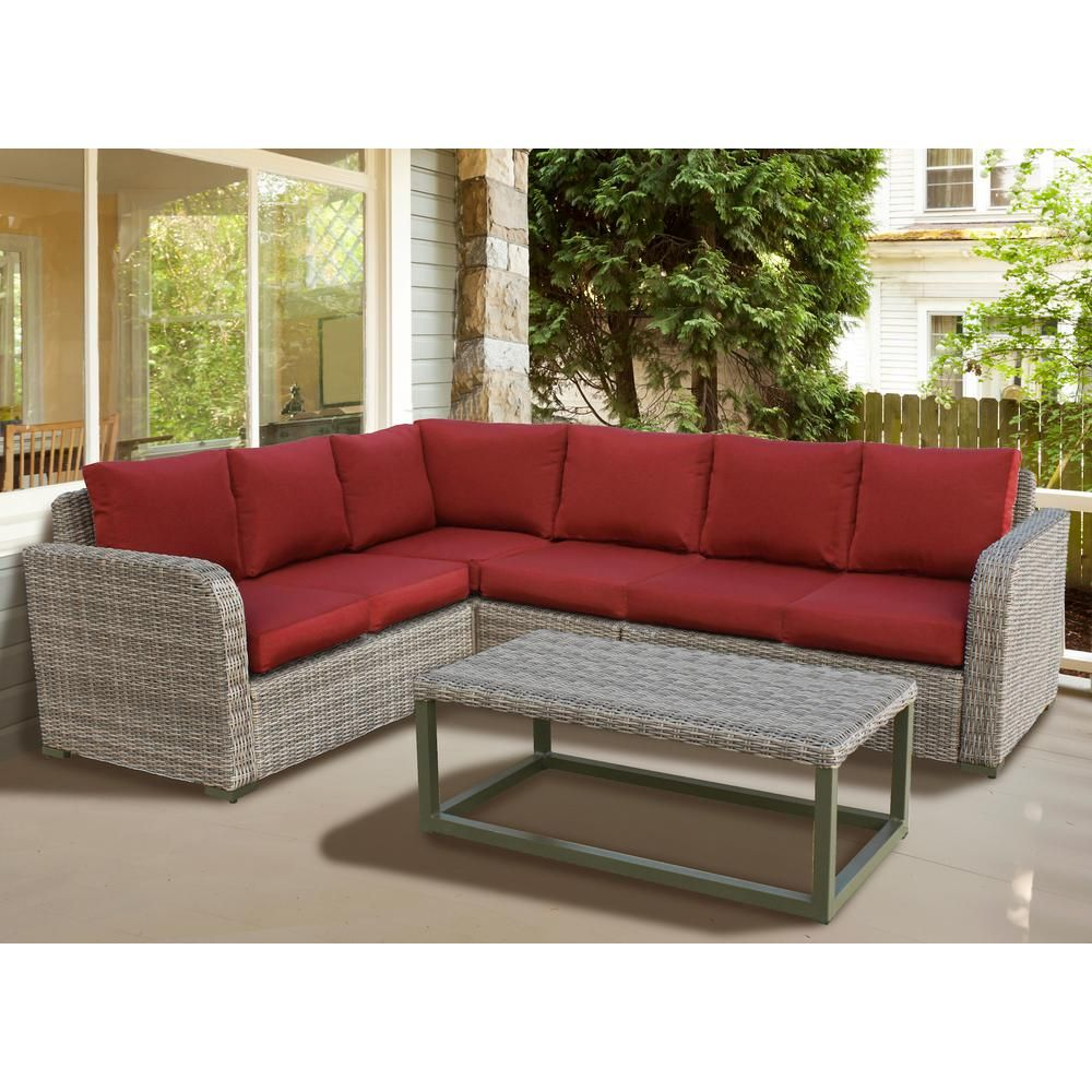 Leisure Made Forsyth 5 Piece Wicker Outdoor Sectional Set With Red Cushions 299231 Red Green Cushions Blue Cushions Wicker Furniture