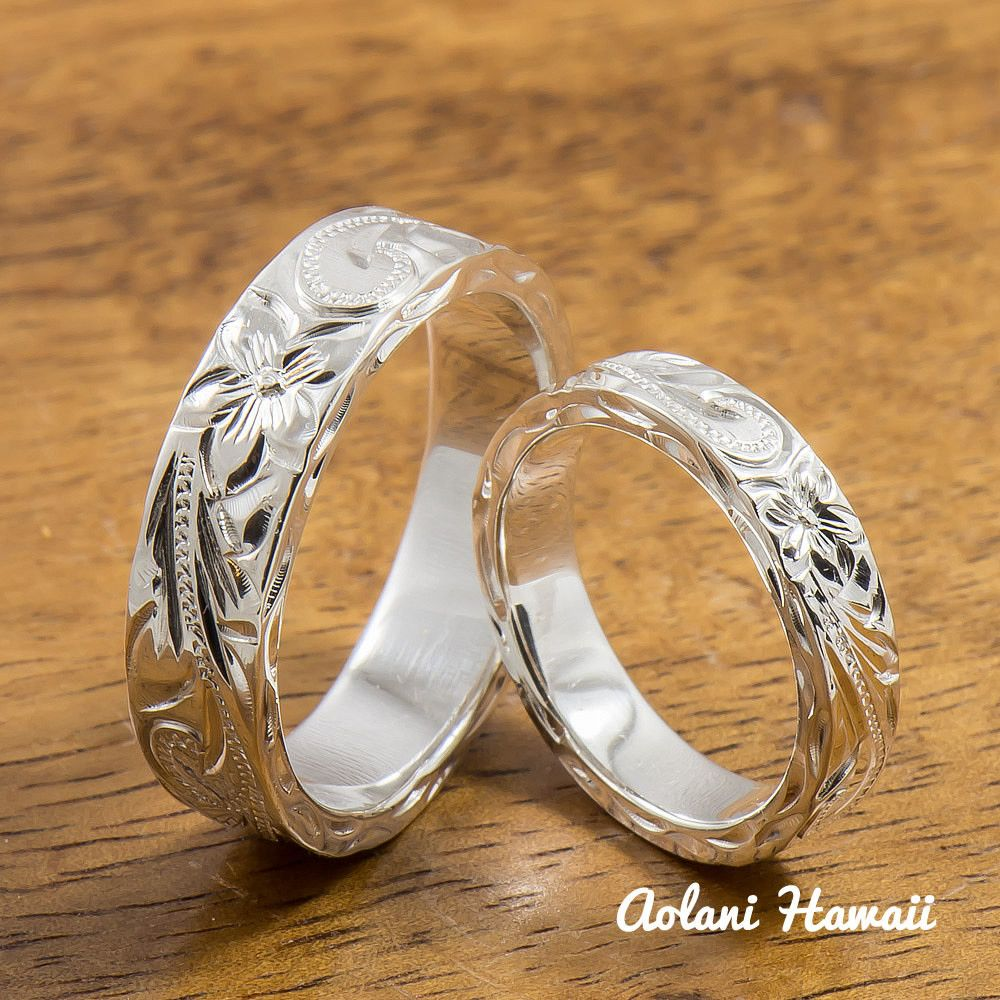Silver Wedding Ring Set Of Traditional Hawaiian Hand Engraved Sterling Flat Rings 4mm