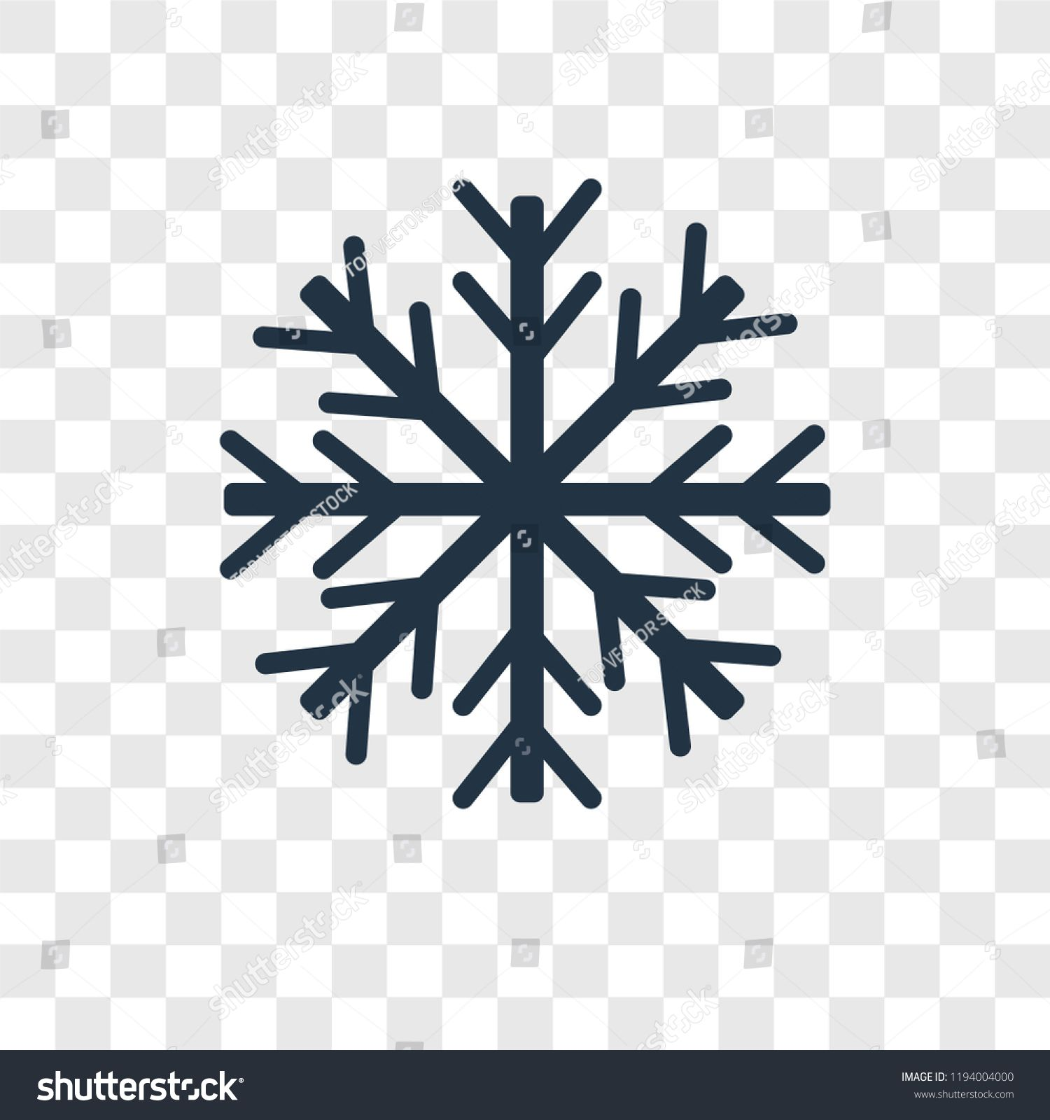 Snowflake vector icon isolated on transparent background