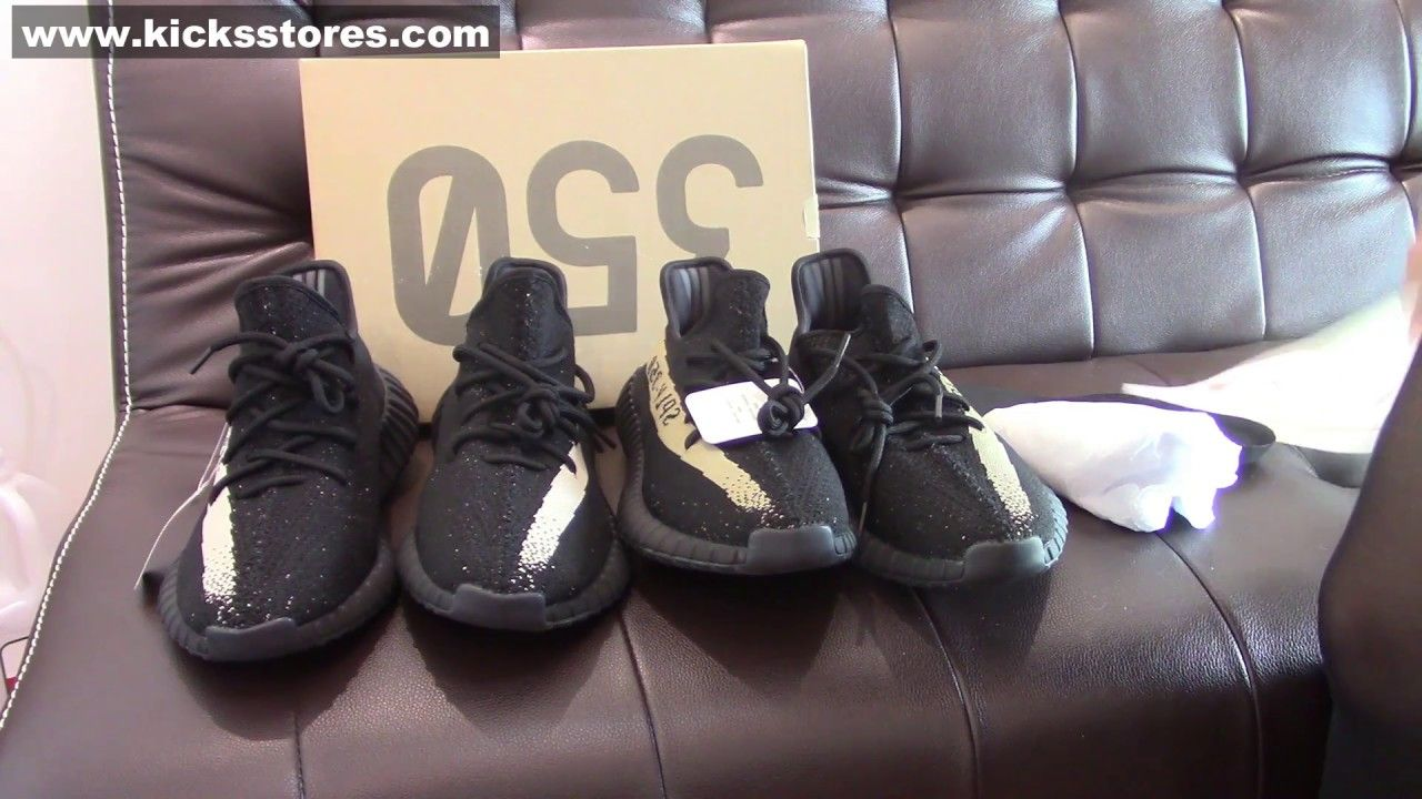 2f3e8e1b9 UnboxingAdidas Yeezy Boost 350 V2 Black  Green Review And Comparison ...