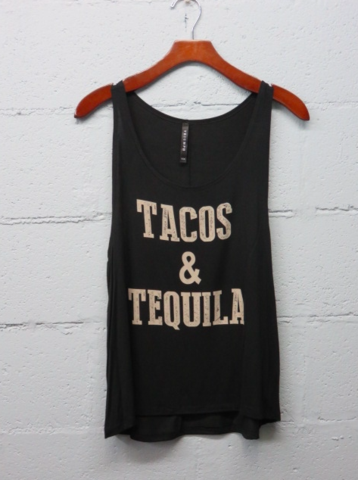 Boho TACOS and Tequila Tumblr Tank Top