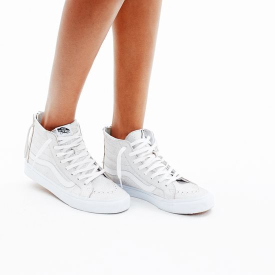 vans - sk8-hi slim zip crackle suede shoes - black