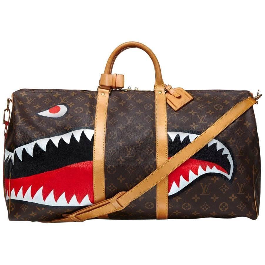 Customized Shark Vintage Louis Vuitton Monogram Keepall Bag