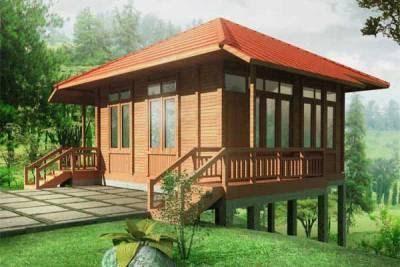 Contoh Desain Eksterior Rumah Kayu Minimalis Tradisional dan Elegan