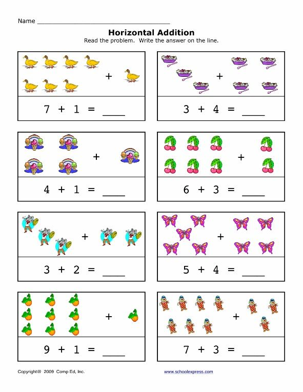 Addition Worksheet For Preschool And Kindergarten