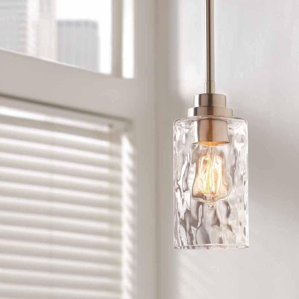 Home decorators collection 1 light brushed nickel mini pendant with home decorators collection 1 light brushed nickel mini pendant with clear hammered glass aloadofball Images
