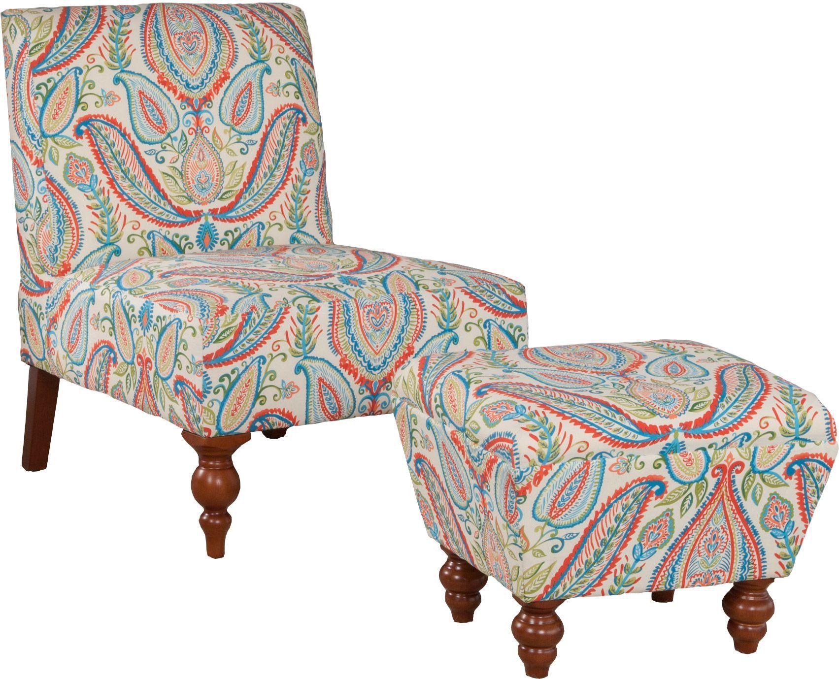 Robert Allen Slipper Chair and Ottoman