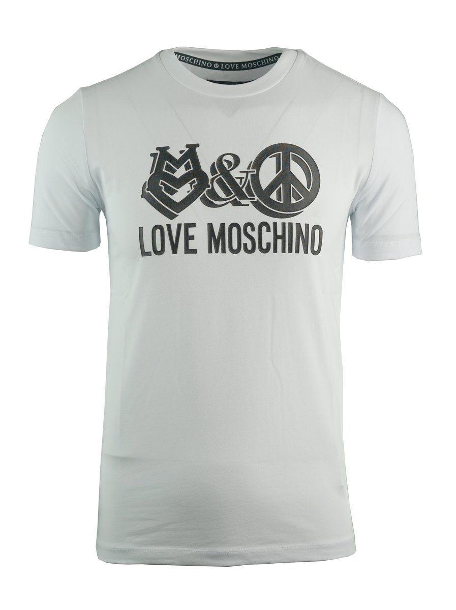 Love Moschino Mens Love Peace T Shirt White Mens Outfits Moschino Moschino Shirt