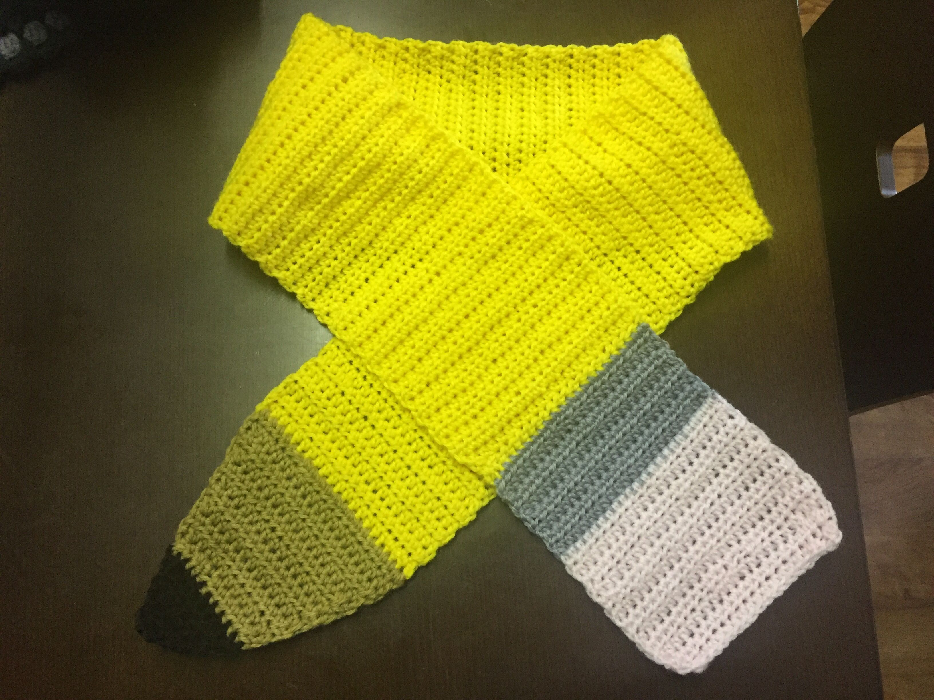 Crochet pencil scarf Made for miss 7 teacher. One more to go ...