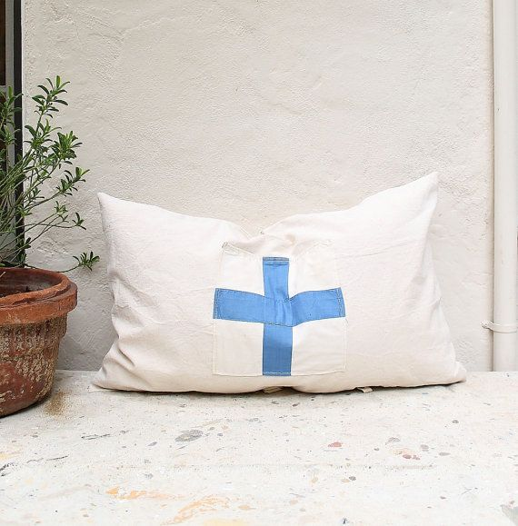 16X26 Pillow Insert Vintage Textile Nautical Cross Flag Pillow Insert Included Large 16