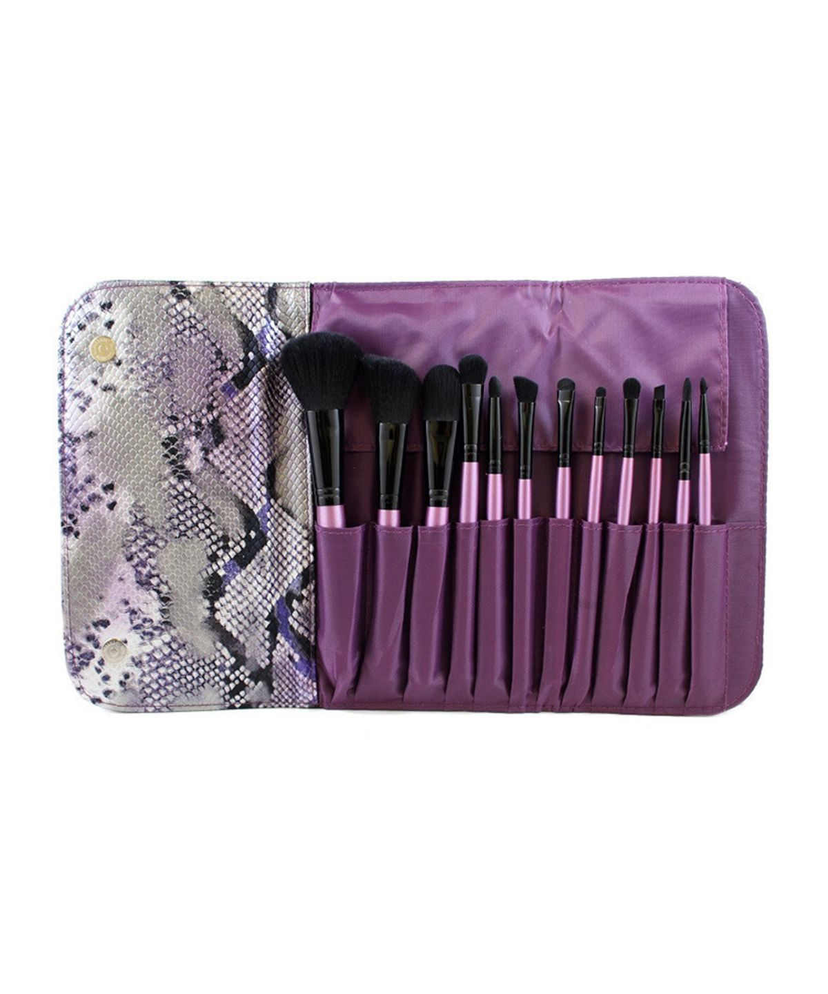 12 Piece Purple Brush Set in Snakeskin Case (693) by