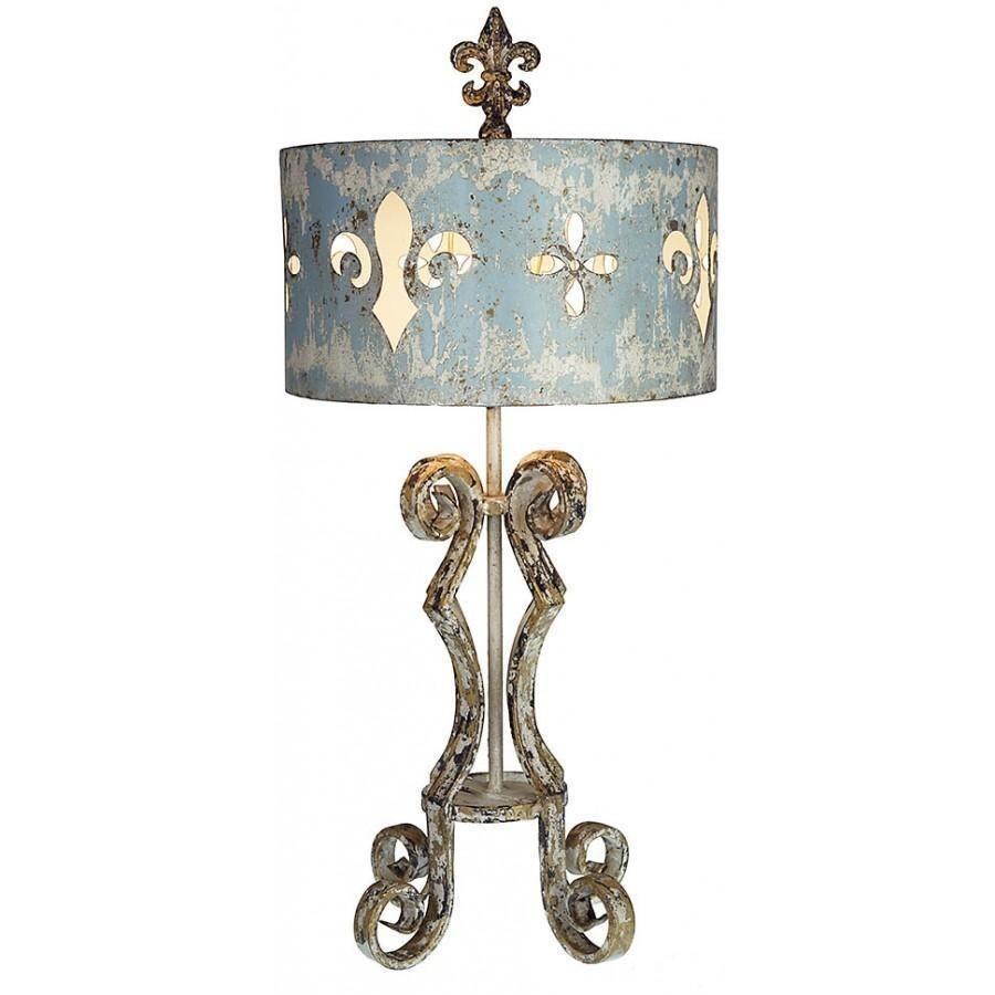 Fleur De Lis Metal Antiqued Table Lamp In 2019 Antique