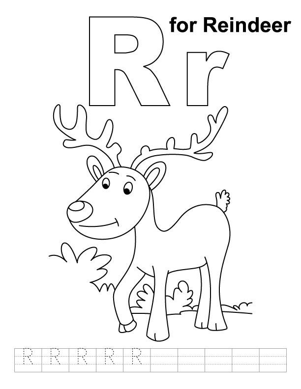 R For Reindeer Coloring Page With Handwriting Practice Alphabet