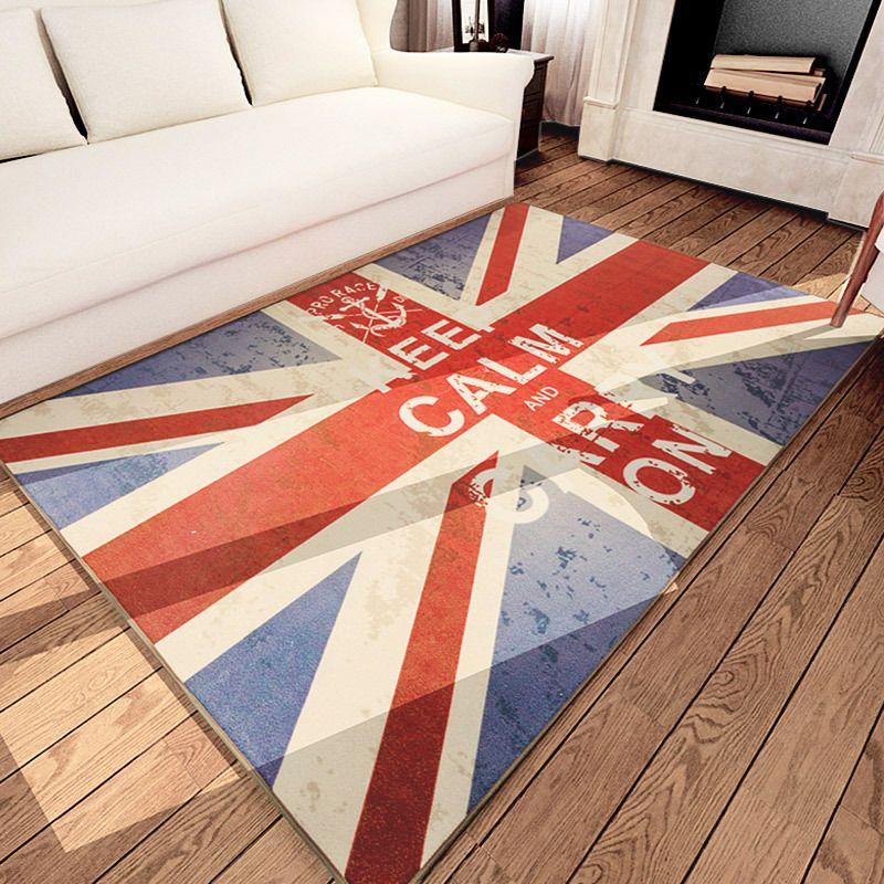 Retro Graffiti UK Flag Pattern Area Rugs Bedroom Carpet Living Room Floor Mat