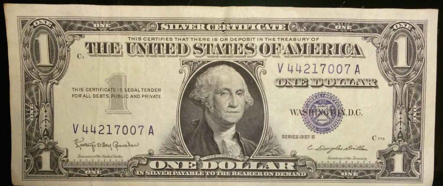 1957b One Dollar Silver Certificate About Uncirculated Grade By