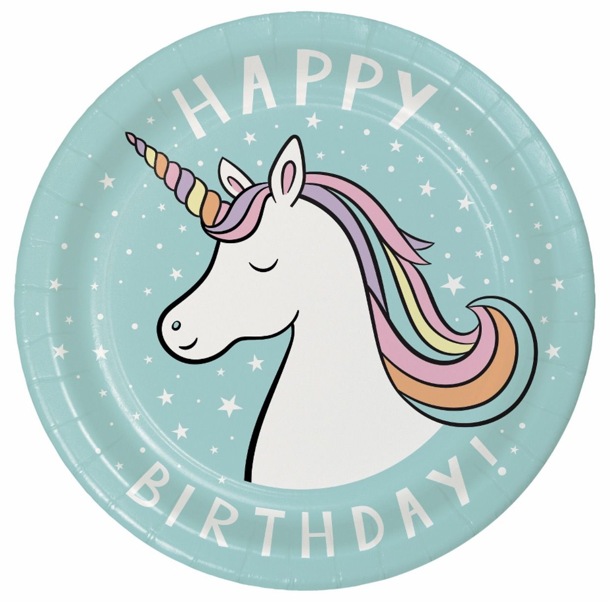 Unicorn Party Plates Supplies Rainbow Target