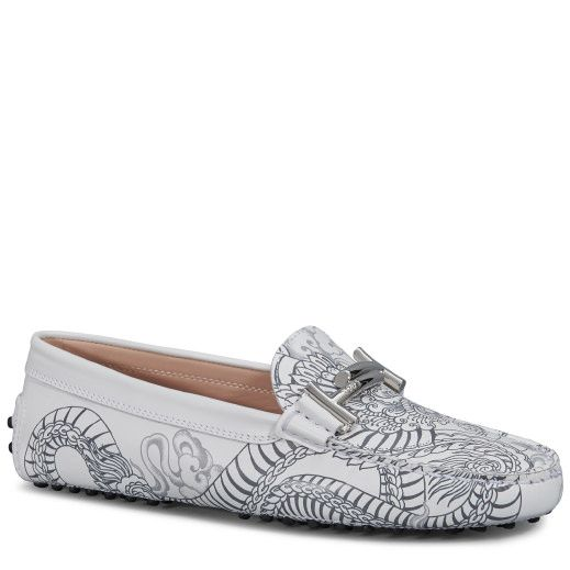 Tod's Double T Tattoo-Inspired Gommino moccasin in fine leather featuring a  tattoo-inspired silkscreen print, branded metal Double T buckle, exposed  hand ...