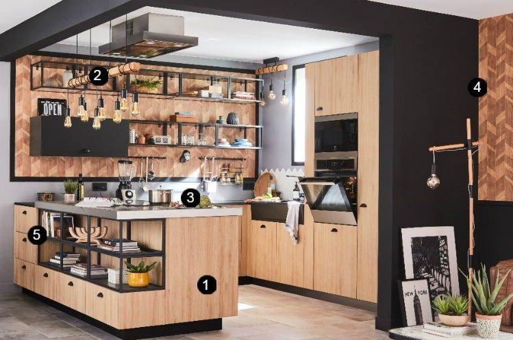 Idees Maison Leroy Merlin Une Cuisine Esprit Bistrot La Cuisine Est Ouverte Sur Le Cuisine Style Industriel Remodelage Petite Cuisine Idees Pour La Maison