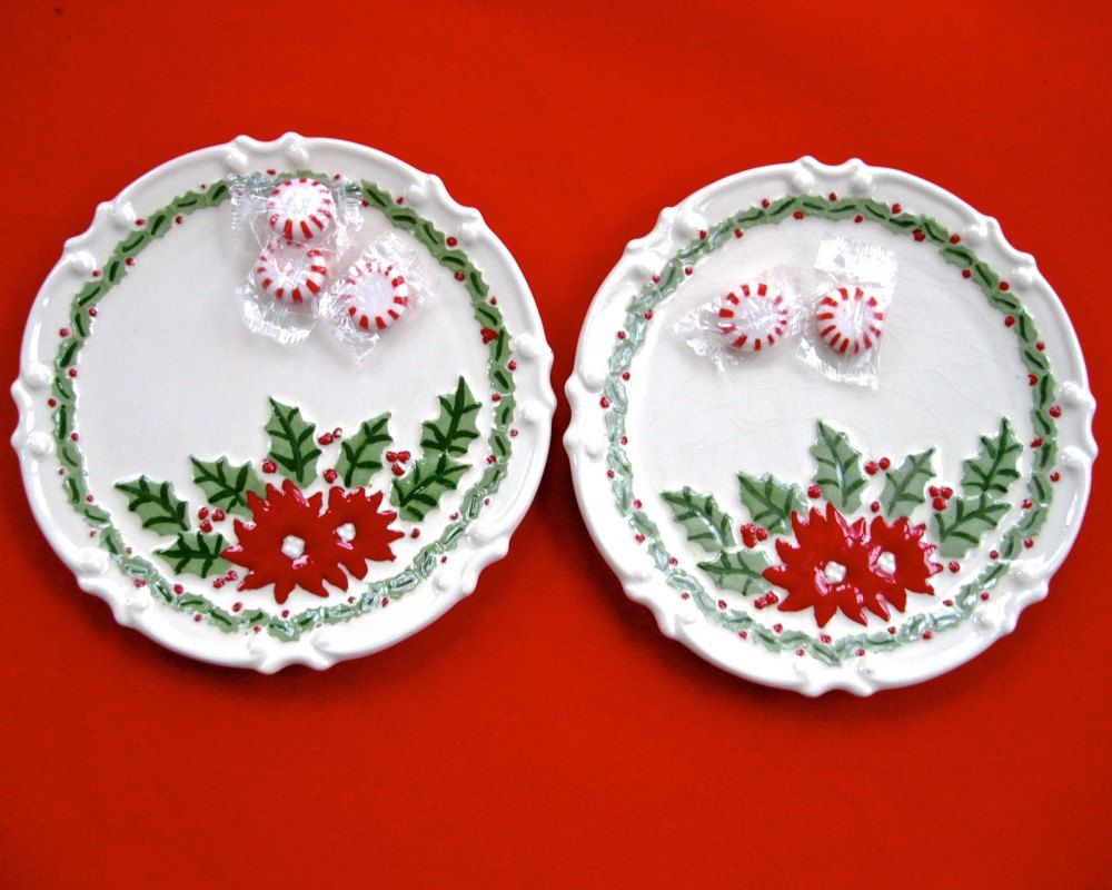 Vintage Poinsettia Plates x2 • Hand Painted Signed Studio Ceramic • Collectible Retro by KatesAtticBargains on Etsy