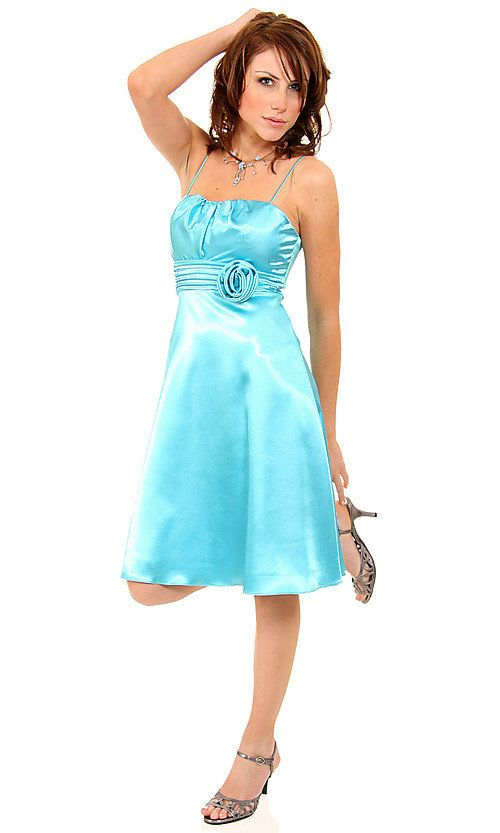 Satin Spaghetti Matching Scarf Included Baby Blue Short Bridesmaid ...