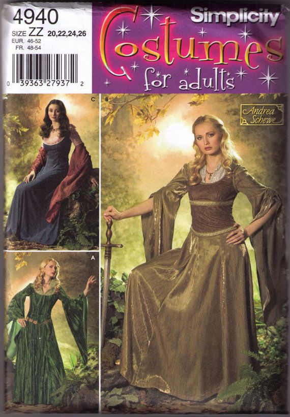 Medieval Renaissance Costume pattern Simplicity 4940 Adult sizes ...