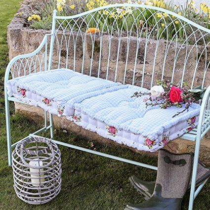 Vintage Style Floral Garden Bench Long Seat Pad Cushion 110cm Width X 45cm Height X
