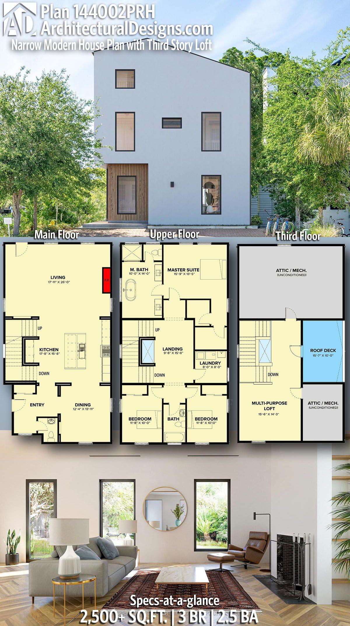 Plan 144002prh Narrow Modern House Plan With Third Story Loft In 2020 Modern House Plans House Layouts Dream House Plans