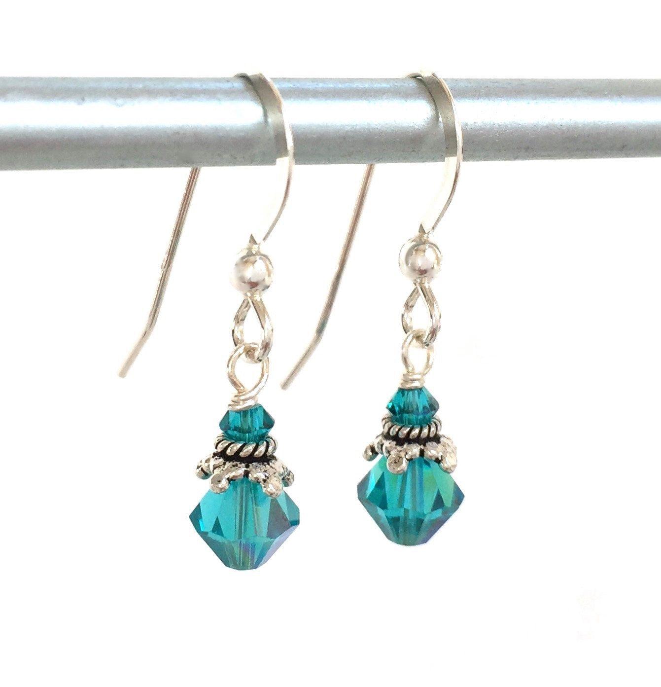 Swarovski Crystals  Teal Blue Earrings  Tiny Crystal Earring  Bridesmaid  Jewelry  Birthday Gift