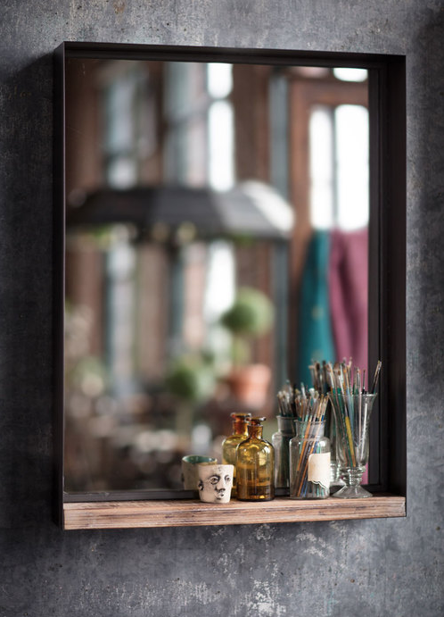 Large Rustic Recycled Metal Frame Mirror w/ Wood Shelf