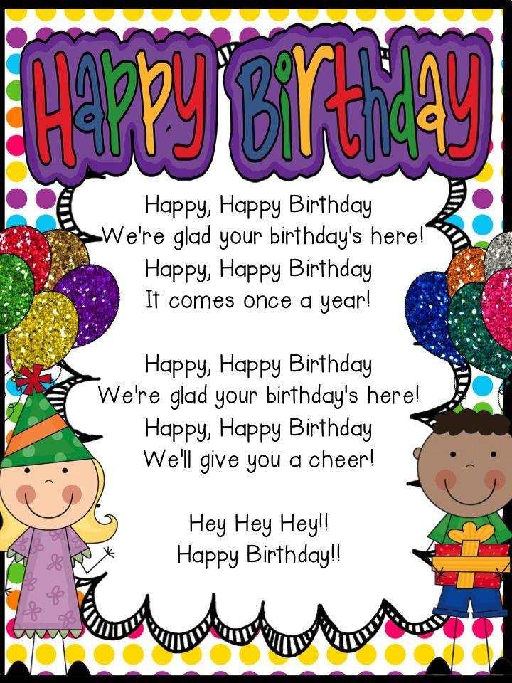 Happy Birthday Song Freebie | Classroom birthday, Student