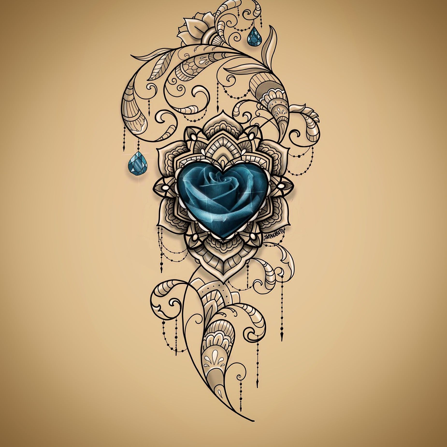 Pin By Clare Green On My Sketches My Art S 22 04 17g Blue Rose Tattoos Body Art Tattoos Jewel Tattoo