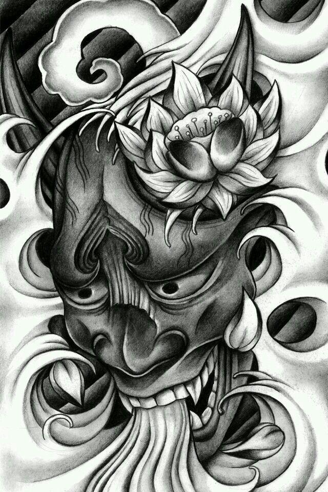 Black Design Japanese Mask Tattoo