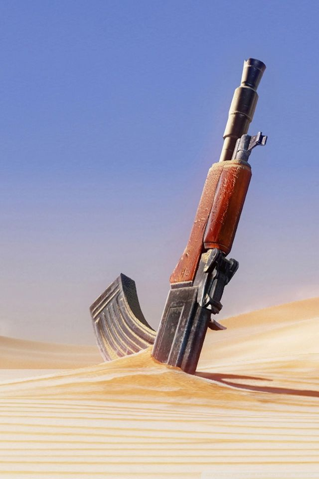Gun In Desert IPhone 4s Wallpaper
