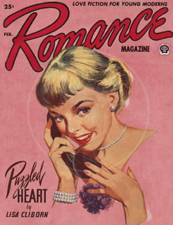 Romance (Feb 1954) - 10x13 Giclée Canvas Print of a Vintage Pulp Romance Magazine Cover