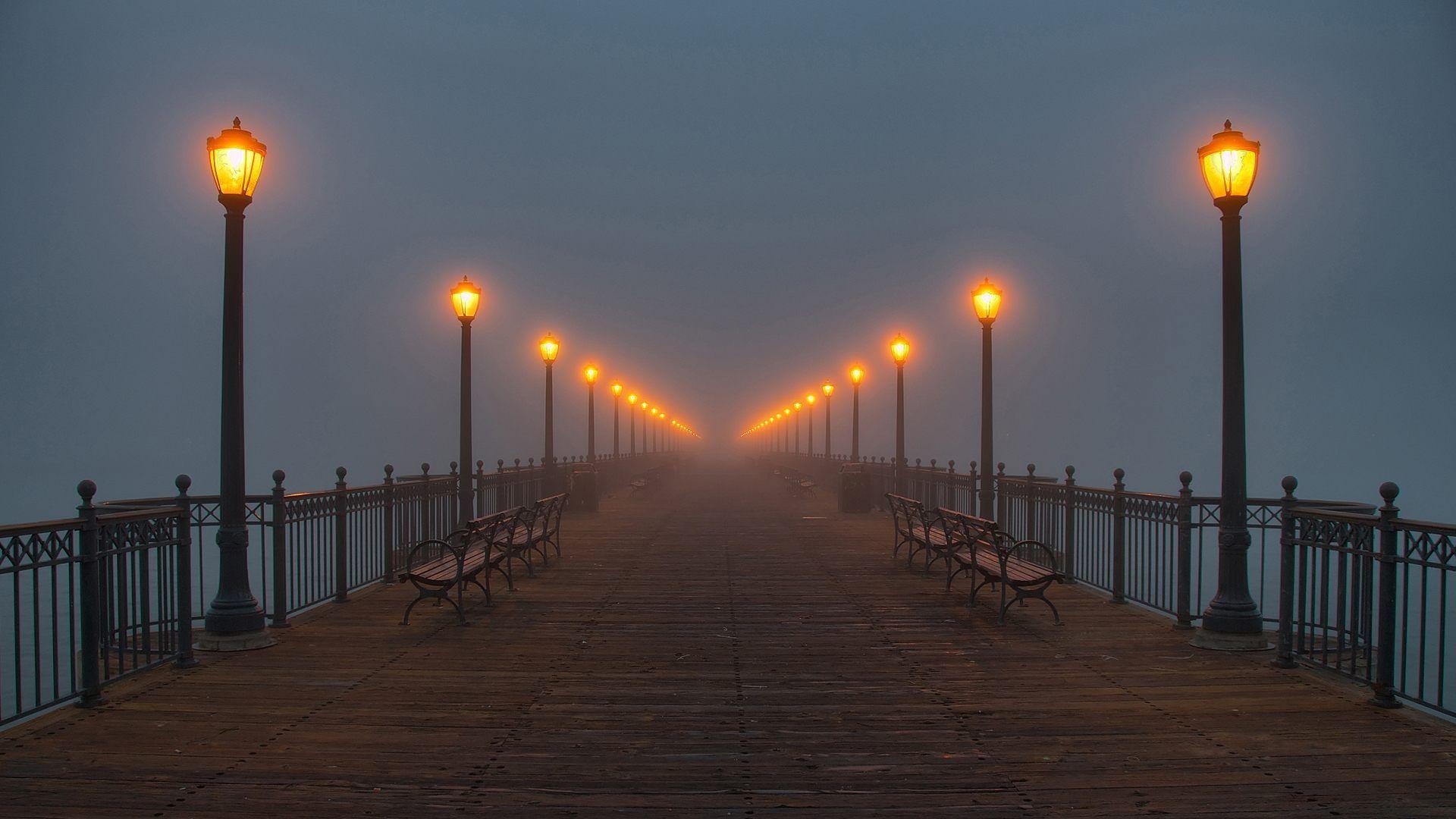 Обои фонари, ночь, люди, сша. Города foto 15